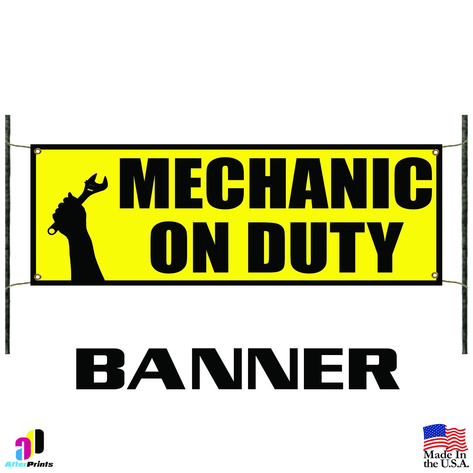 Mechanic On Duty Advertising Vinyl Banner Sign Auto Body Shop Car Repair Tools