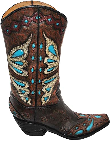 HiEnd Accents Turquoise Butterfly Design Cowboy Boot Vase, 14 x 9 x 3 , Brown Turquoise