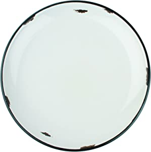 Canvas Home Tinware Dinner Plate with Black Rim, Light Grey- Pack of 4