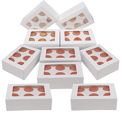 Kurtzy Cupcake Box- Cajas para cupcakes 10 Pcs - 6 agujeros Cupcake Caja - Muffin