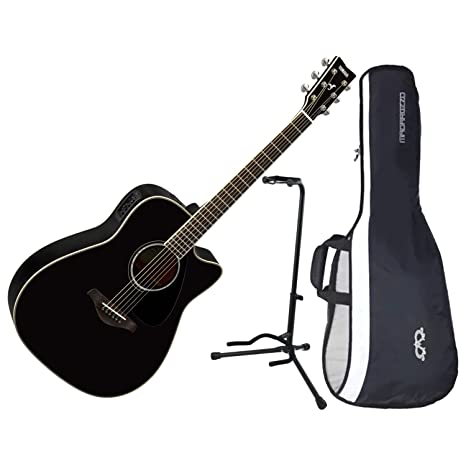 Yamaha fgx830 C negro Cutaway Folk Guitarra Parte Superior sólida ...