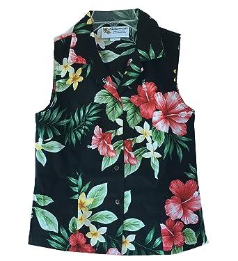 a68538805 Alohawears Clothing Company Women's Hibiscus Floral Hawaiian Aloha  Sleeveless Blouse Shirt (S, Black)
