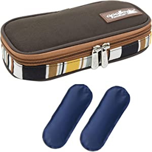 goldwheat Insulin Cooler Travel Case Portable Medical Cooler Bag Diabetic Organizer with 2 Ice Packs