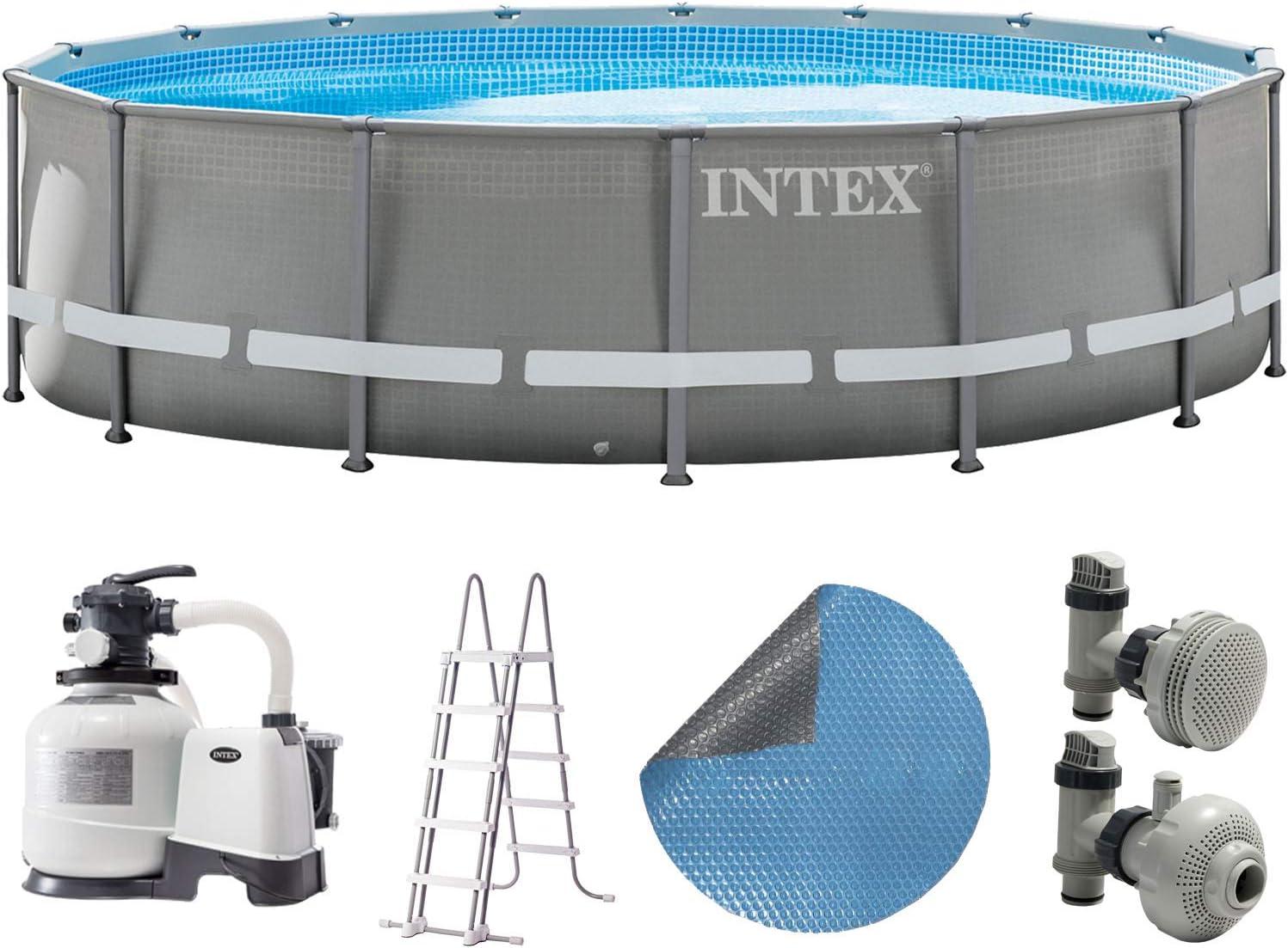 Intex Piscina 549 x 132 cm Piscina acero pared metal marco con filtro de arena, escalera, Solar pantalla: Amazon.es: Jardín