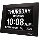 "SVINZ Newest 5 Alarms Dementia Clock, Day Clock w/ Snooze Button, 2 Auto-Dim Options, Large 8"" Display Wall Digital Calendar"