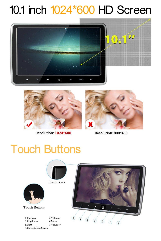 10.1 Inch HD 1024 x 600 HDMI USB SD IR/FM Ultra Thin Digital Touch Key LCD Screen Car DVD Player Headrest Monitor by Hengweili by Hengweili (Image #2)