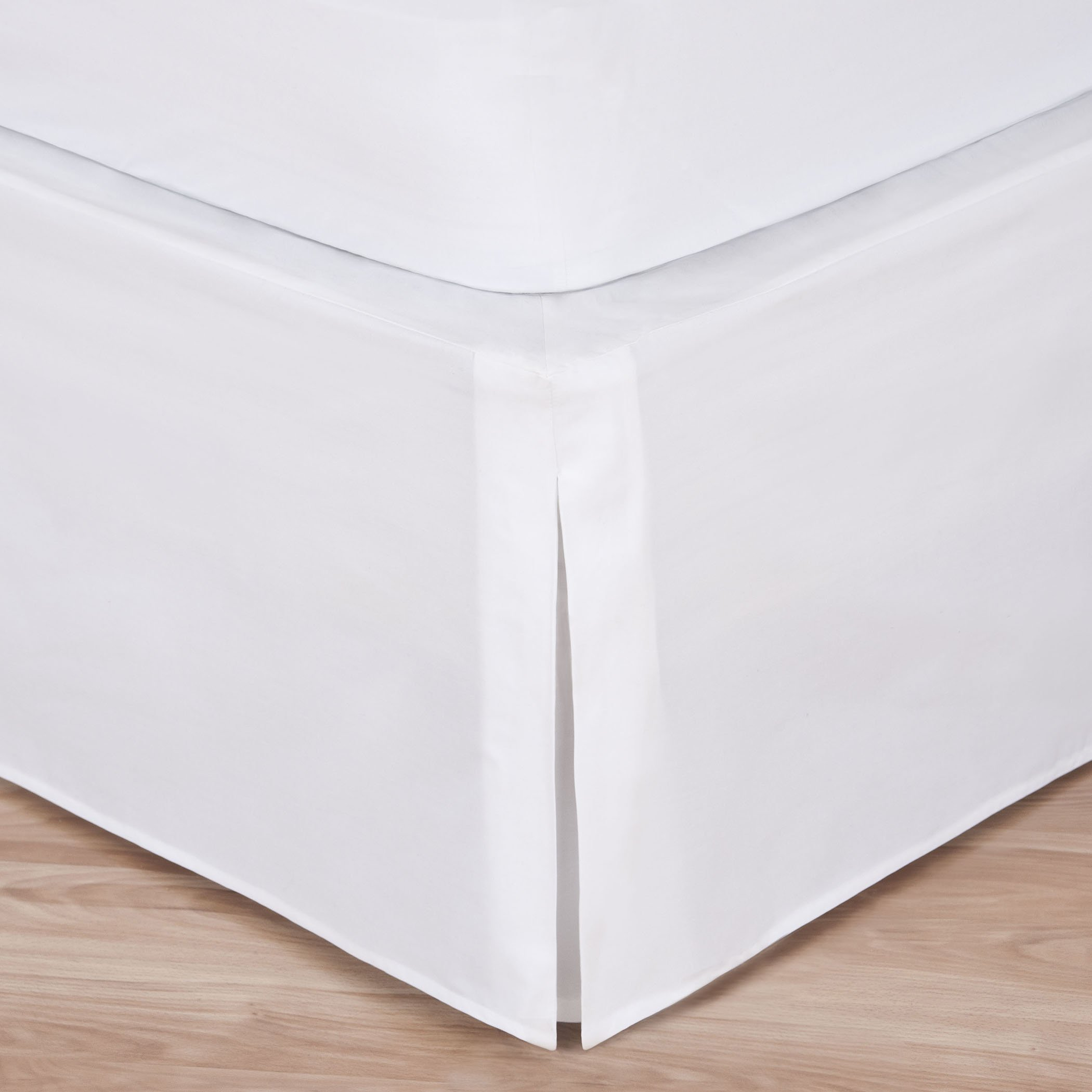 White Bed Skirt: Tailored Pleat, 14'' Drop (Twin XL)