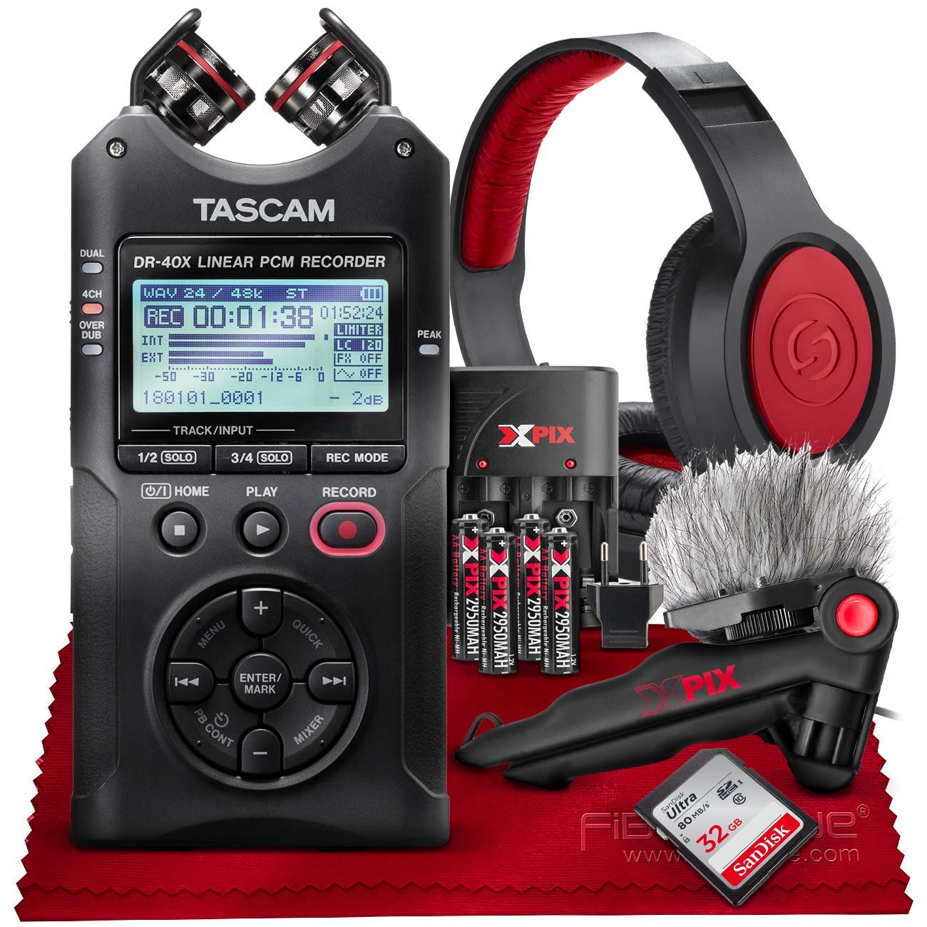 Tascam DR-40X Four-Track Digital Audio Recorder and USB Audio Interface + 32GB + Samson Headphones + Table Tripod + Accessory Bundle