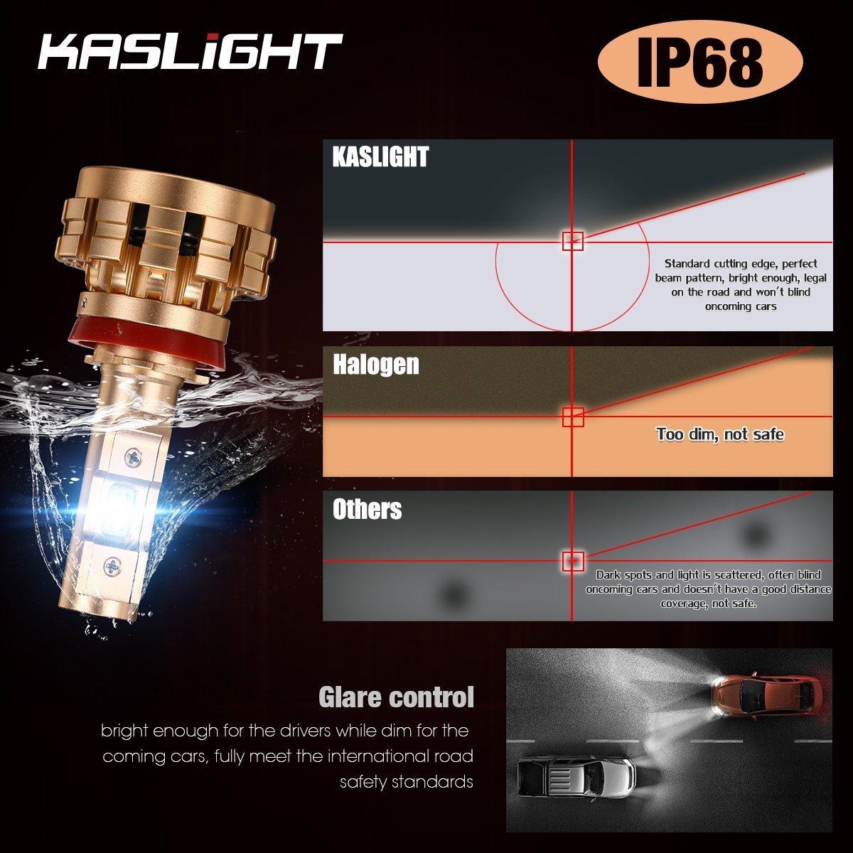 Kaslight Dot Approved H11 Led Headlight Bulb 6000k 1996 Tacoma Wiring Diagram Pnp Conversion Kit W Adjustable Beamip683 Yr Warrantyfire Proofh8 H9 Bulbs