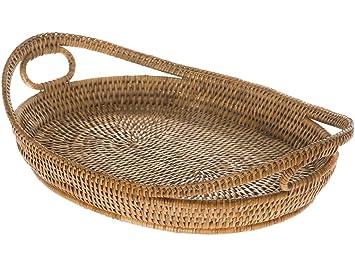 KOUBOO La Jolla Oval Rattan Tray With Looped Handles, Honey Brown Great Ideas