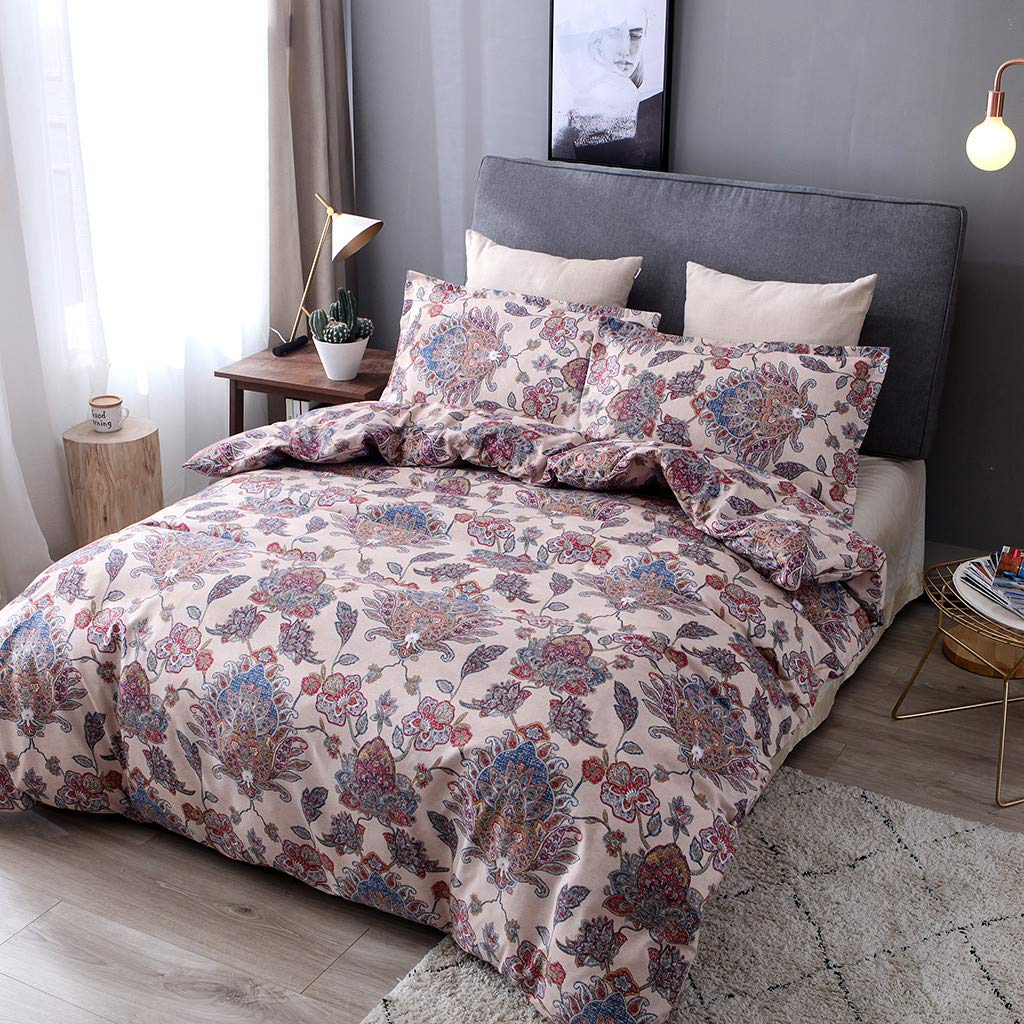 Beyonds Pure Printing Luxury 3 Piece Bed Set Flower Deep Pockets Bedding Set Includes x1 Duvet Cover x2 Pillowcases - Soft Polyester Fabric