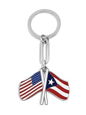 Puerto Rico Flag & USA Flag Keychain