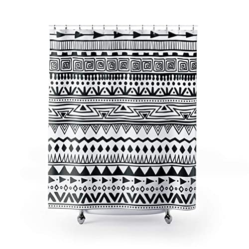 Amazoncom Boho Shower Curtain Black And White Bathroom Curtain