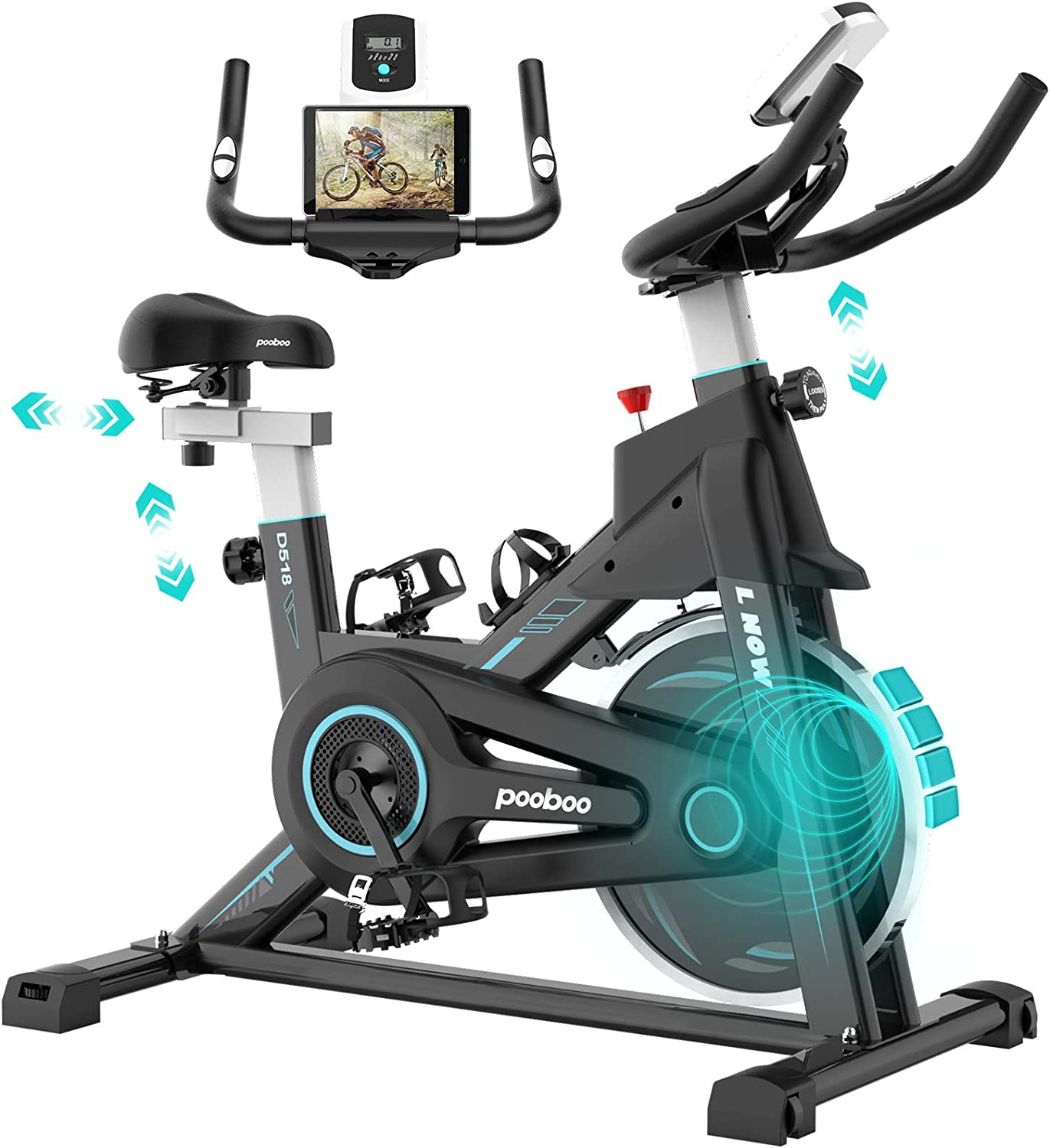 pooboo Magnetic Exercise Bike Indoor Cycling Bike Stationary, Adjustable Seat & Handlebar, Stationary bike with LCD Monitor & Device Holder, Smooth Quiet Home Workout