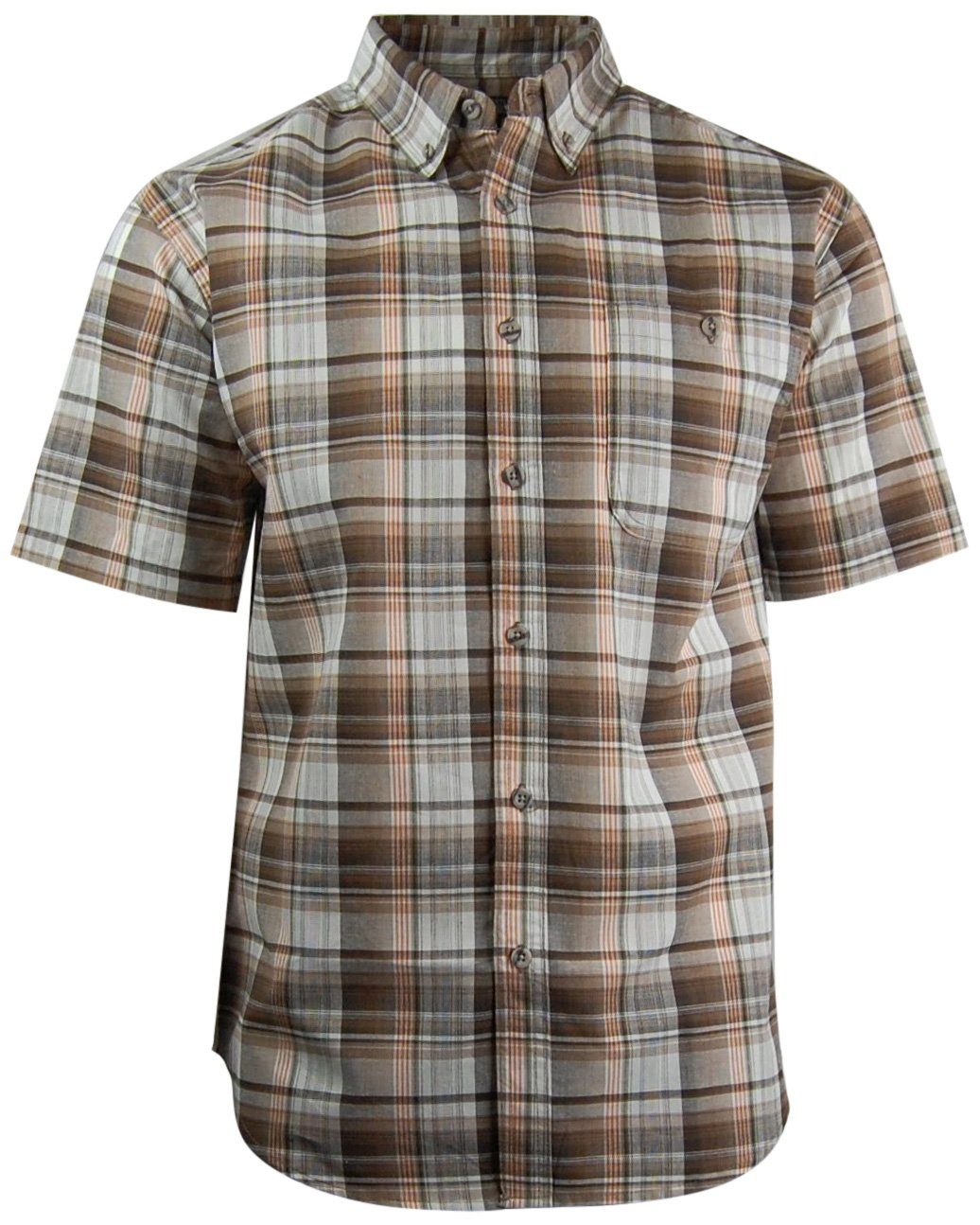 Canyon Guide Men's Plaid Short Sleeve Button Down Casual Shirt (2X-Large, Brown)