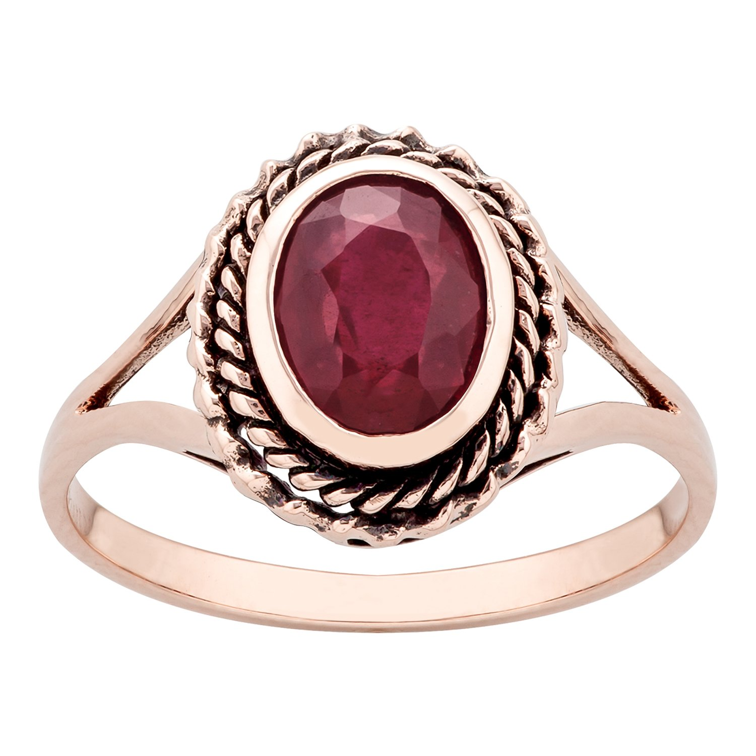 10k Rose Gold Vintage Style Genuine Oval Ruby Split Shank Ring by Instagems