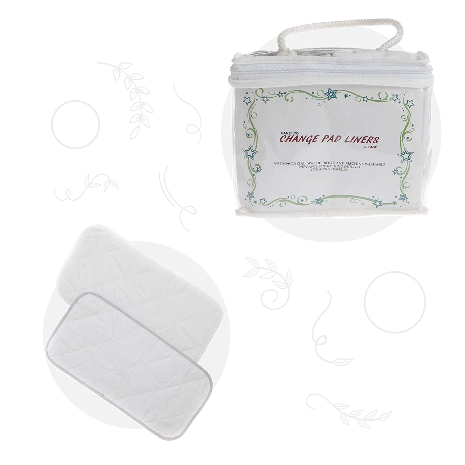 Machine Washable Baby Changing Pad Liners Pack of 2 With Bonus Travel Bag Water Proof Premium