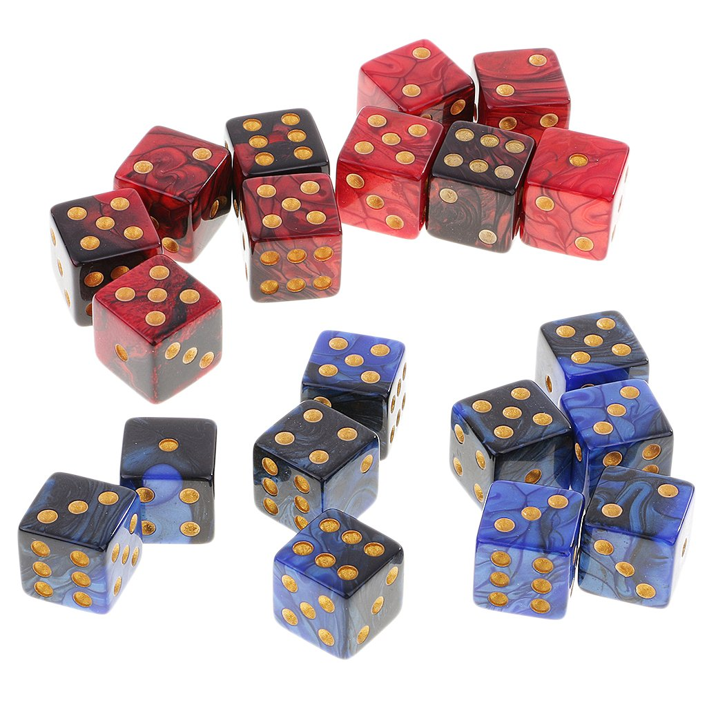 MonkeyJack 10pcs DIY Six Sided Dice D6 Playing Dungeons D/&D TRPG Board Game Accessories Red Black