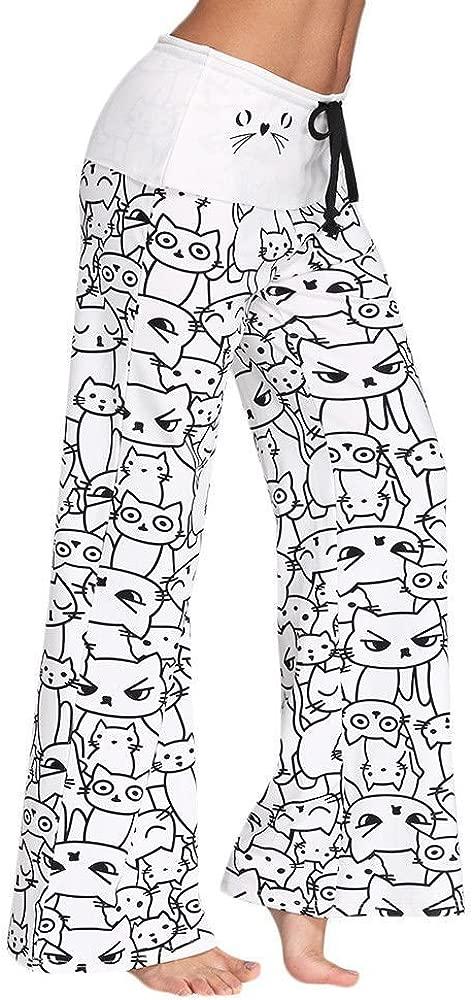 Pantalon Mujer Fashion Estilo Simple Impresión Gatos Pantalones De ...
