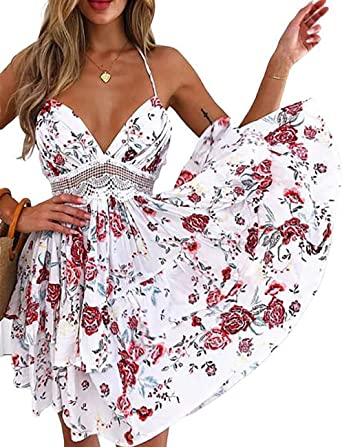 UK Womens V Neck Backless Bodycon Floral Halter Mini Ladies Holiday Casual Dress