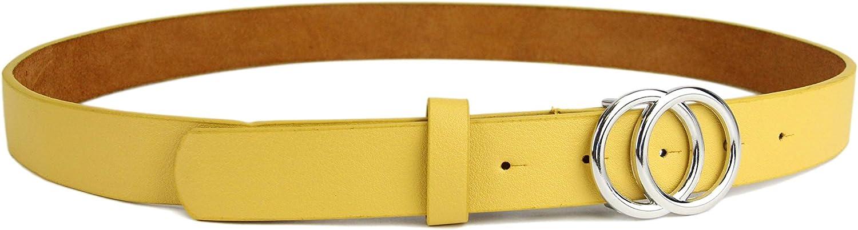 H/üftg/ürtel Tailleng/ürtel mit Ringschnalle 3 CM breit ca irisaa Schmaler Damen G/ürtel mit runder Metallschnalle zwei Ringen