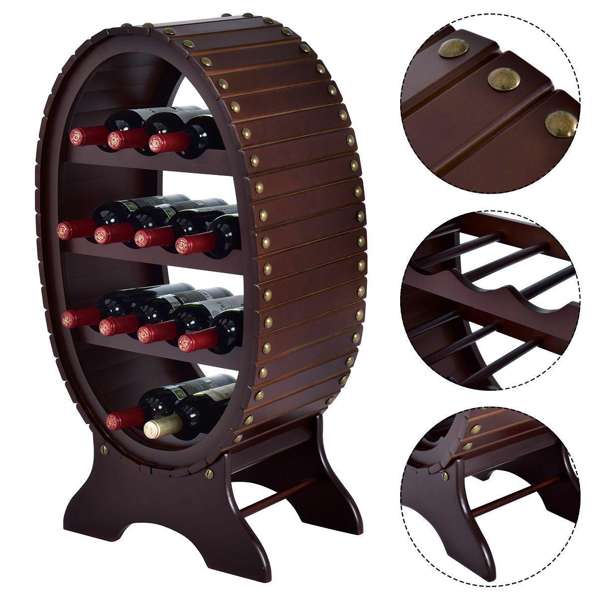 13 Bottles 4 Tier Vintage Wine Rack Wood Storage Shelf Holder Liquor Home Decor