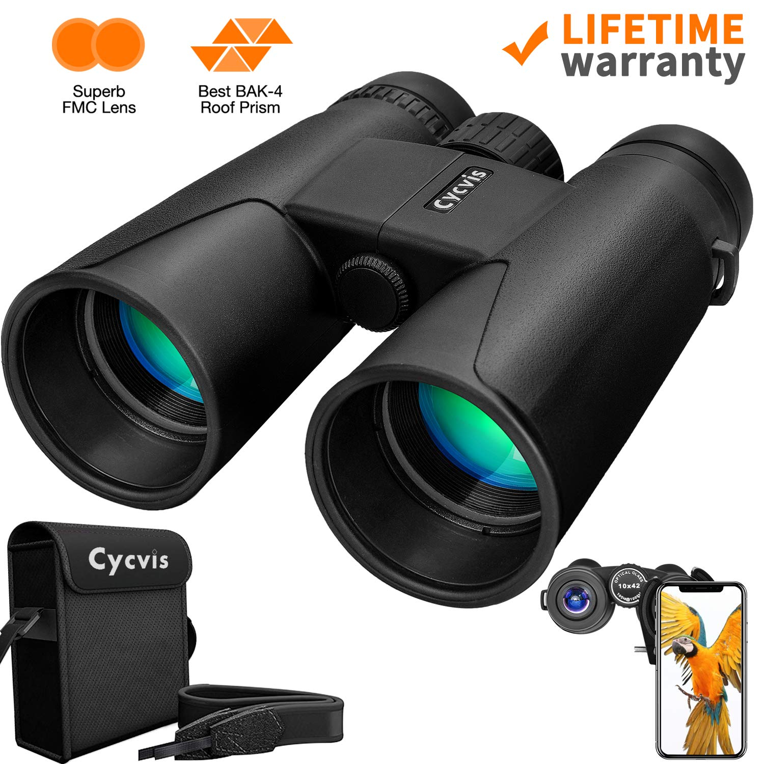 10x42 Roof Prism Binoculars for Adults - Professional HD Binoculars for Birds Watching Travel Stargazing Concert with Clear Weak Light Vision - BAK4 Prism FMC Lens with Strap Carrying Bag (1.1 pounds) by Cycvis