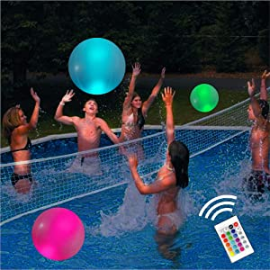 "Pool Toys 16"" Glow in Dark LED Beach Ball Toy, 16 Color Changing Floating Pool Lights, Outdoor Pool Beach Glow Party Games and Decorations (1PC)"