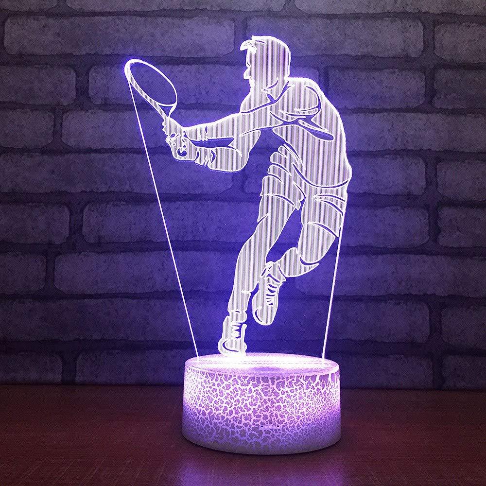 KLSOO Unique Bedside Led 3D Lamp Acrylic Gifts 3D Night Light White Base Lovely 7 Color Change 3D Kids Lamp