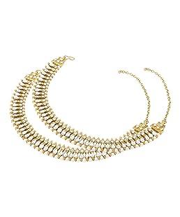 Mann Jewels Designer Kundan Payal for Women - Gold Plated