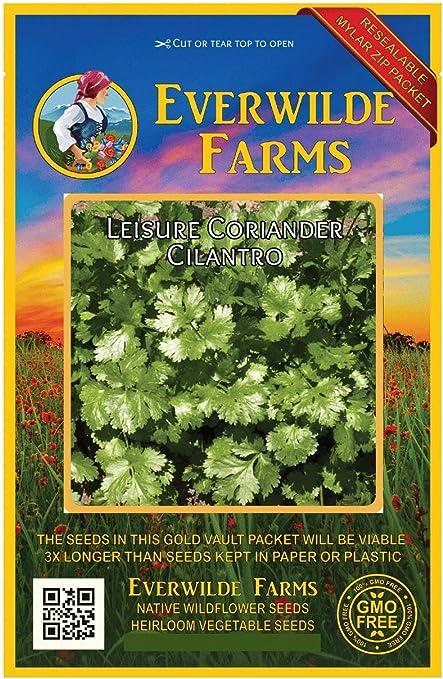 Everwilde Farms Mylar Seed Packet 1 Lb Leisure Coriander Cilantro Herb Seeds