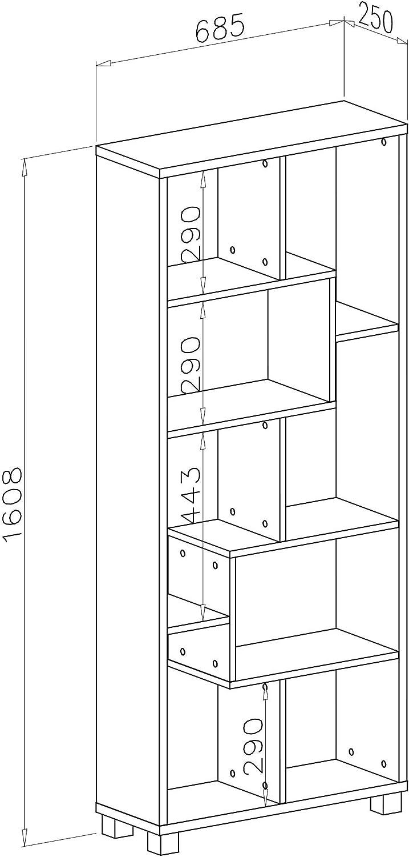 Medidas: 68,5 x 161 x 25 cm de Fondo SelectionHome Estanter/ía librer/ía de dise/ño Comedor sal/ón Color Blanco Mate