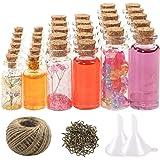 CUCUMI 44pcs Mini Glass Jars Bottles with Cork Stoppers Wish Bottles(20pcs 5ml and 12pcs 10ml and 12pcs 20ml),50pcs Eye Screw
