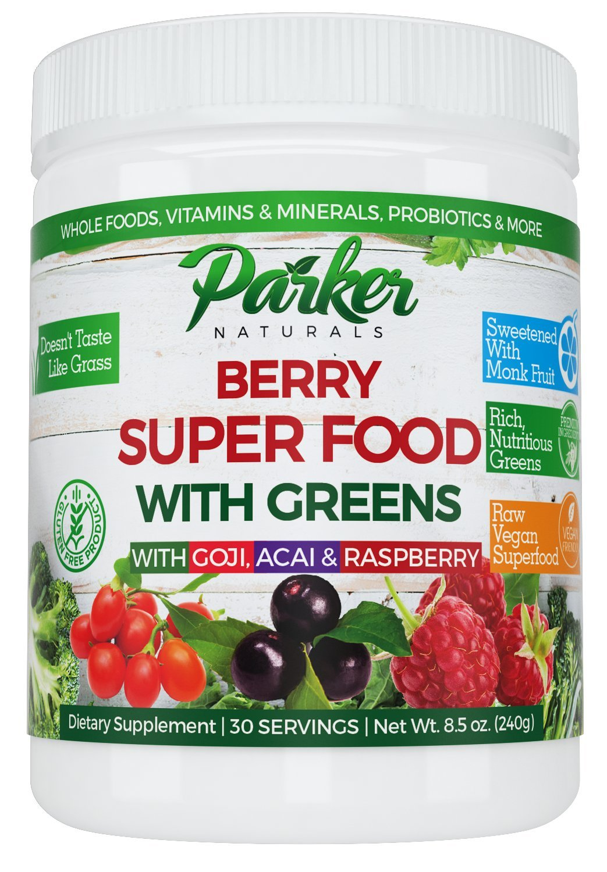 Berry Green Superfood Powder with Organic Greens & Organic Fruits, Enzymes, Probiotics, Antioxidants, Vitamins, Minerals - Alkalize & Detox - Non GMO, Vegan & Gluten Free - 240 Grams, 22000 ORAC