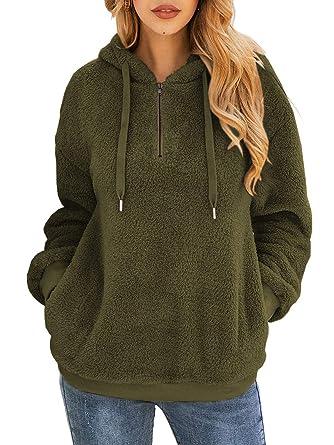 3cb54f12e1a Famulily Women's Long Sleeve Hooded Fleece Sweatshirt Warm Fuzzy Zip Up  Hoodie Pullover