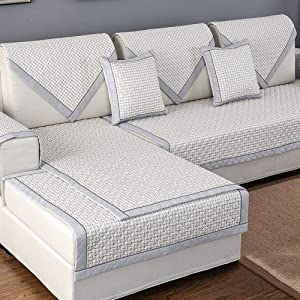 Nileco Anti-Slip Thick Sofa Slipcovers, Loveseat Sofa Cover Quilted Sofa Furniture Protector Stain Resistant L Shape Couch Cover-n 90x70cm(35x28inch)