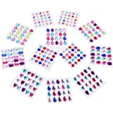 Outus Multicolor Self-adhesive Jewels Rhinestone Sticker Sheets, 6 Sizes, 12 Sheets