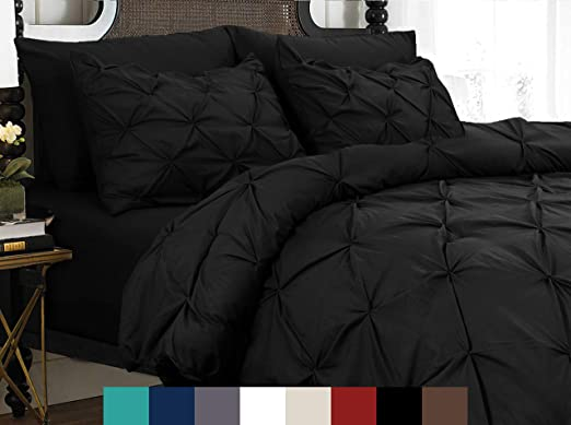 Full//Queen, Steel Grey Luxuriously Soft 100/% Brushed Microfiber with Textured Pintuck Pleats and Corner Ties Signature Pinch Pleated Pintuck Duvet Cover 3 Piece Set with Button Closure
