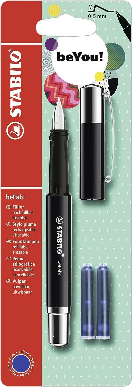 Penna Stilografica 3 Cartucce Blu incluse Uni Colors in Nero STABILO beFab