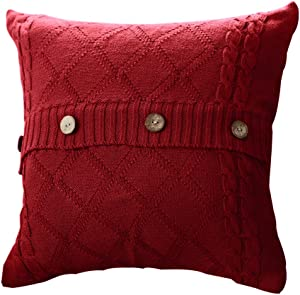 Goldy&Wendy Cotton Knitted Decorative Cushion Cover Cable Knitting Patterns Super Soft Square Warm Pillow Covers, 18 by 18 Inch Throw Pillow Cover