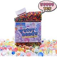 Heegay Perlas de Gel para El Agua 50000psc Cuentas de Agua Multicolor de Crecimiento Mágico para Juego Infantil, Perlas del Gel del Agua para El llenador del Florero, Juguetes Sensoriales para Niños
