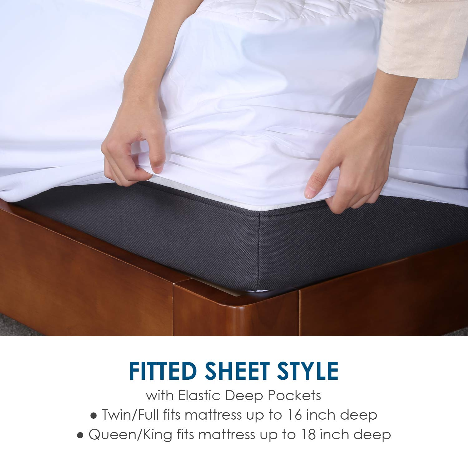 Hypoallergenic and Protects Against Dust Mites and Bed Bug King Size HIFORT Waterproof Mattress Quilted Protector Fitted Sheet Style with Deep Pocket Fits Up to 18 Inch