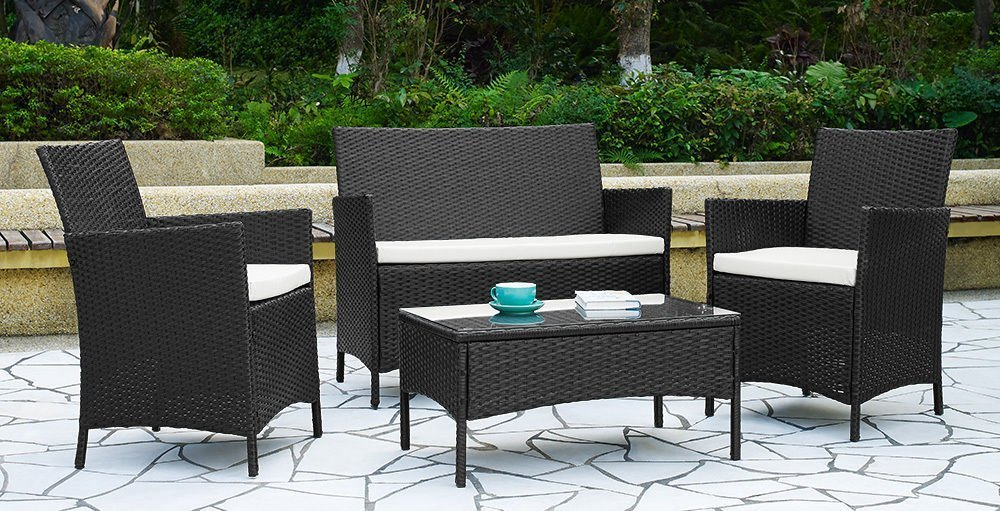 ebs rattan patio garden furniture sets patio furniture set clearance sale wicker white cushioned coffee table 2 chairs black pe amazoncouk garden