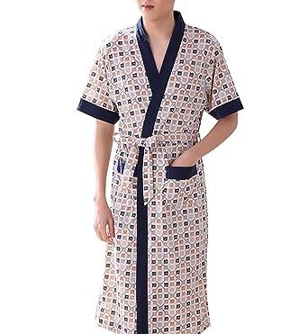 09caf52cbf16 Surenow Men s Cotton Long Knee Length Dressing Gown Short Half Sleeve Light  Weight Bath Robe Comfortable