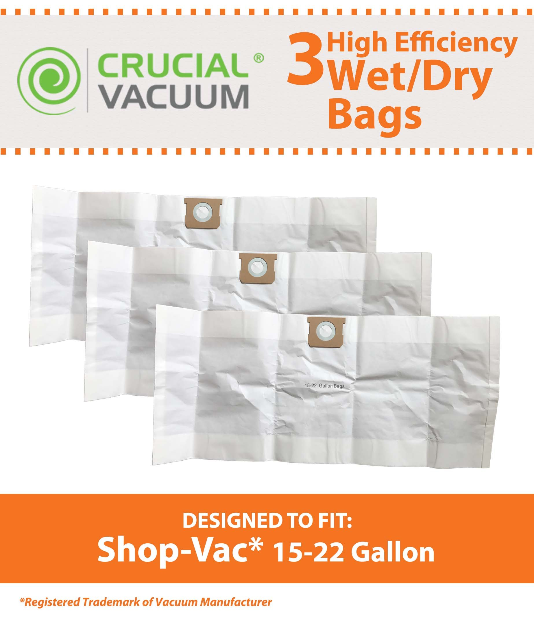 Think Crucial 3 Replacements for Shop-Vac Type G Bags Fit 15-22 Gallon Wet & Dry Vacs, Compatible With Part # 90663 & 90663-00