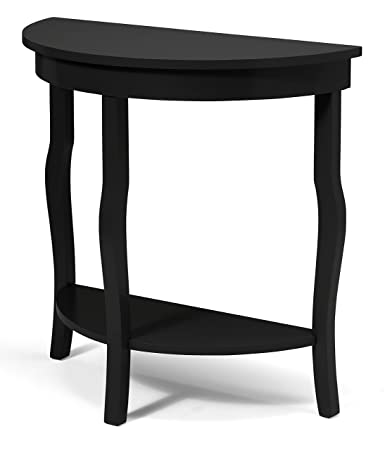 Kate and Laurel Lillian Wood Half Moon Console Table Curved Legs with Shelf, Black