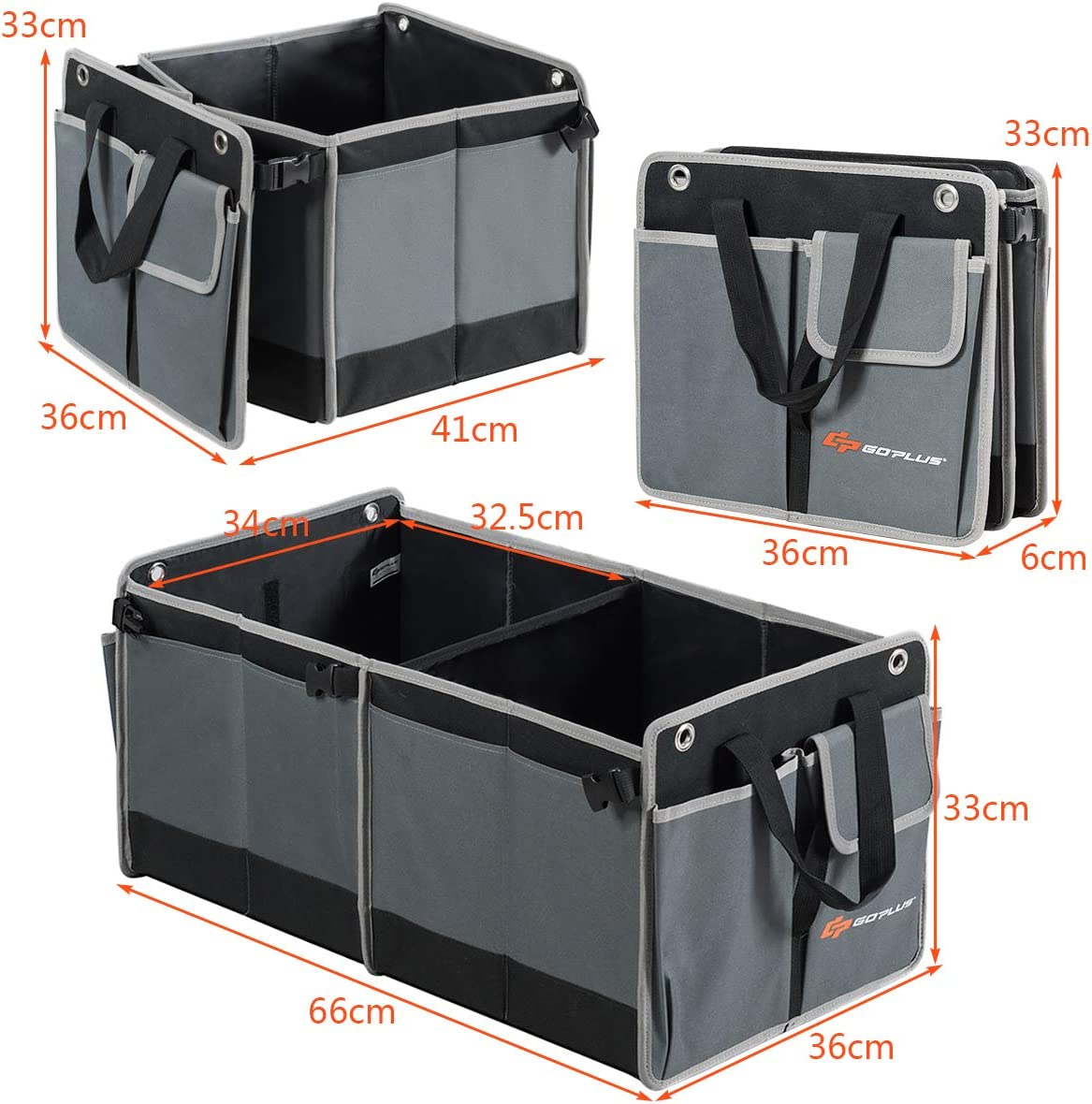 Noir et Gris Costway Organisateur de Coffre de Voiture Portable et Pliable avec 3 Compartiments Isol/és et 4 Poches Rangement en Tissu Oxford Organisateur de Rangement pour Voiture avec Poign/ées
