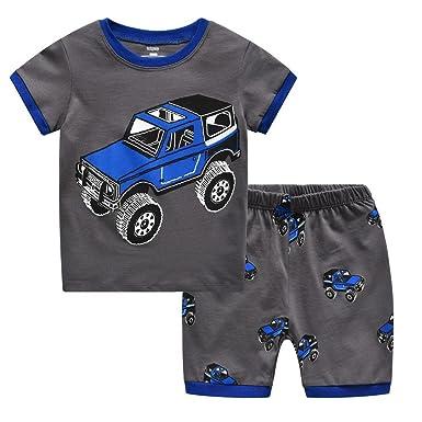 fdbe6bb591 Amazon.com  Fribro Kids Pajamas Set 100% Cotton Boys Snug-fit ...