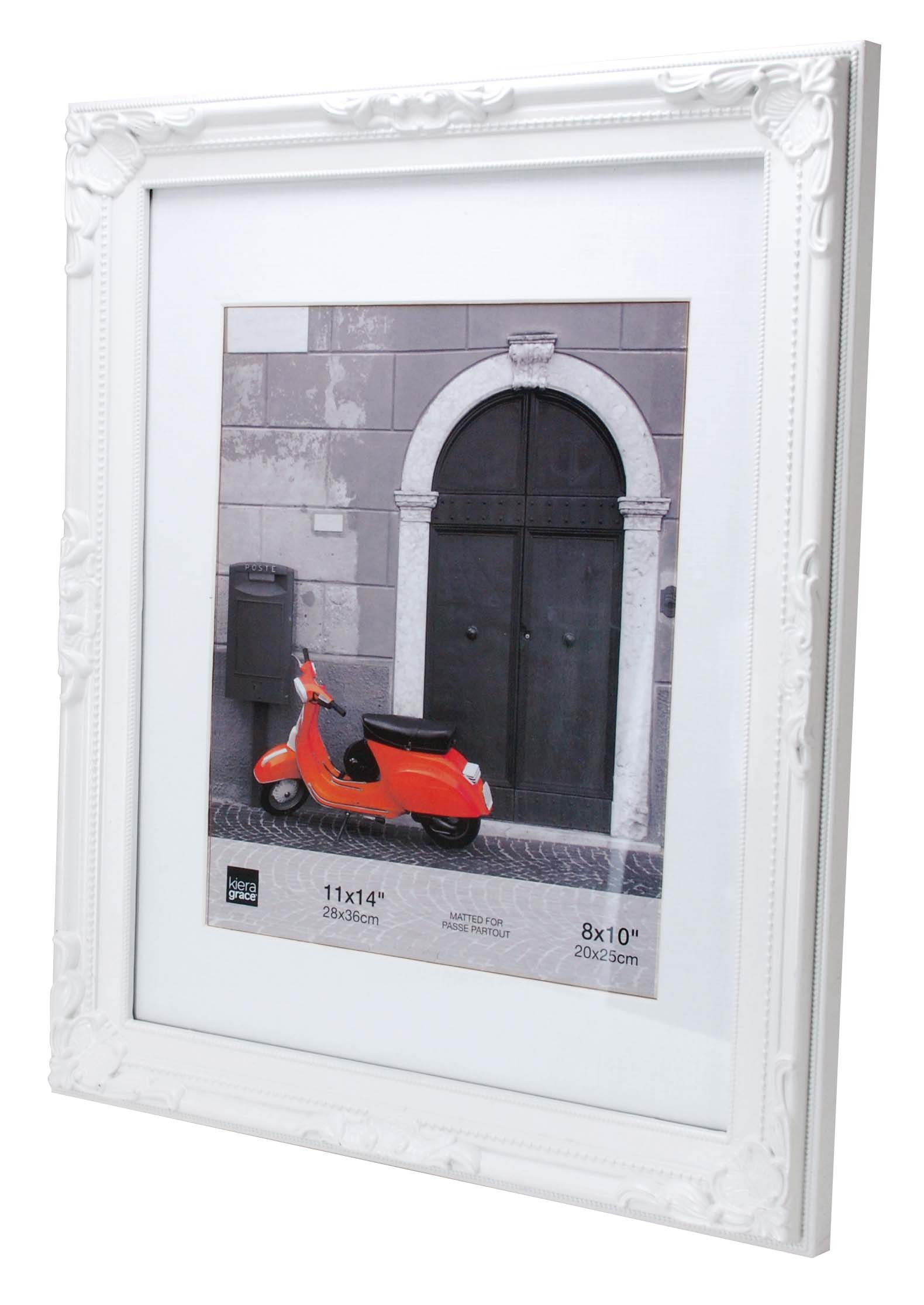 "kieragrace Traditional luxury-frames, 11 by 14-Inch, White - 11"" x 14"" for 8"" x 10"" image (mat opening 7. 5"" x 9. 5"") Overall size: 12. 75"" x 15. 75"" x 1"" Made of high quality resin (plastic) - picture-frames, bedroom-decor, bedroom - 71y2D225LOL -"