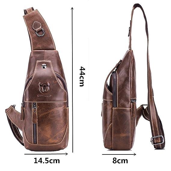 Bolso Mochila de Pecho, BULLCAPTAIN Leathario bolso mochila de pecho piel cuero para hombres con cuero compuesto para diario o trabajo.: Amazon.es: Equipaje